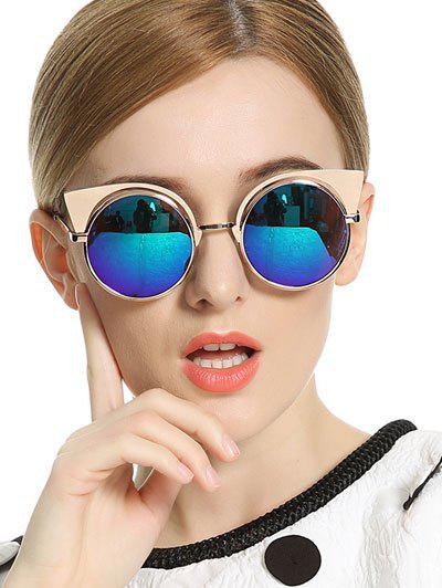 Stylish Cat Ears Round Mirrored Sunglasses - BLUE