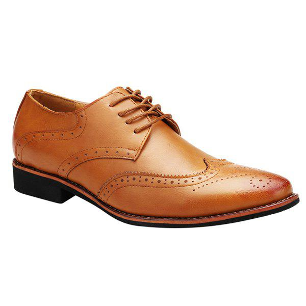 Fashion Tie Up and Wingtip Design Men's Formal Shoes - BROWN 44