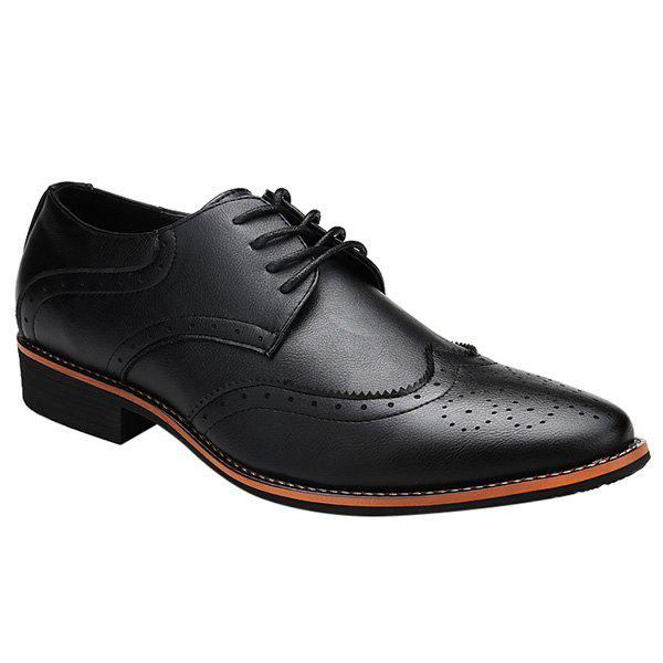 Fashion Tie Up et Wingtip Design Men's Formal Shoes - Noir 42