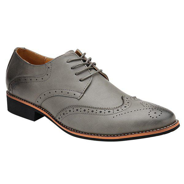 Fashion Tie Up and Wingtip Design Men's Formal Shoes - GRAY 44