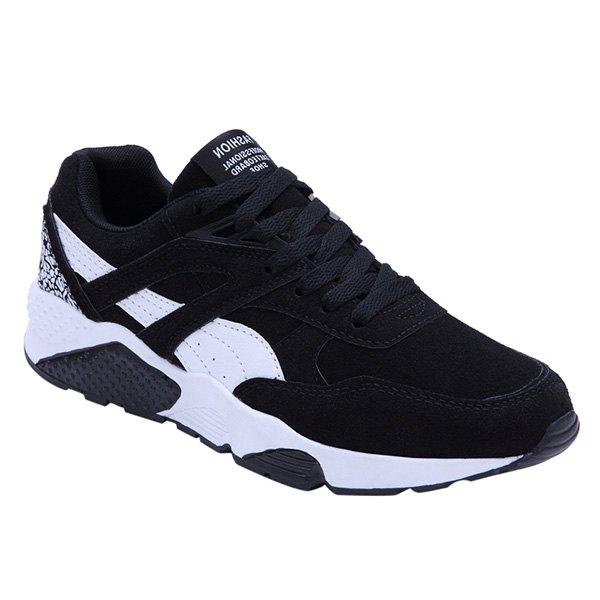 Trendy Color Splicing and Suede Design Men's Athletic Shoes - BLACK 43