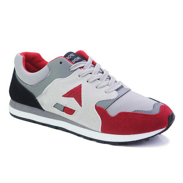 Fashion Color Splicing and Lace-Up Design Men's Athletic Shoes - RED 44