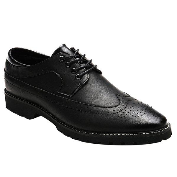 Fashionable PU Leather and Tie Up Design Men's Formal Shoes - BLACK 44