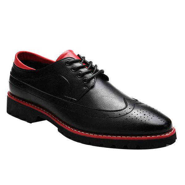 Fashionable PU Leather and Tie Up Design Mens Formal ShoesShoes<br><br><br>Size: 43<br>Color: RED WITH BLACK