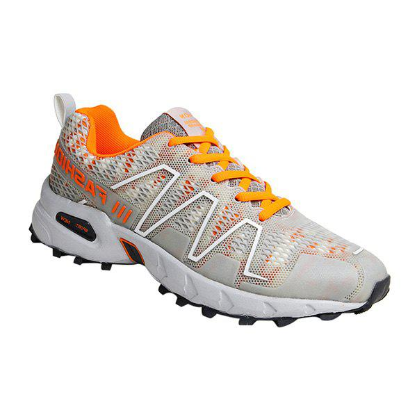 Trendy Color Splicing and Breathable Design Men's Athletic Shoes - LIGHT GRAY 43