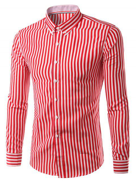 Turn-Down Collar Plus Size Vertical Stripe Long Sleeve Button-Down Men's Shirt - RED 2XL