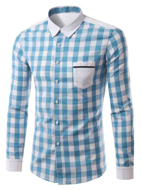 Pocket Splicing Turn-Down Collar Plaid Pattern Long Sleeve Men's Shirt - LIGHT BLUE XL