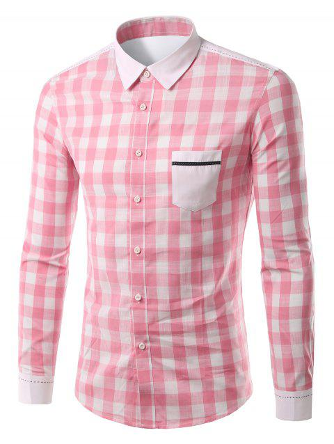 Splicing Pocket Turn-Down Col Plaid Motif manches longues hommes  's Shirt - Rose XL