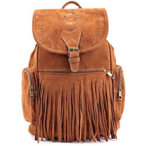 Retro Engraving and Fringe Design Satchel For Women - BROWN