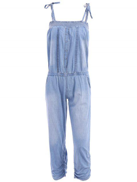 Fashionable Spaghetti Strap Tie-Up Bleach Wash Elastic Denim Jumpsuit For Women - BLUE L