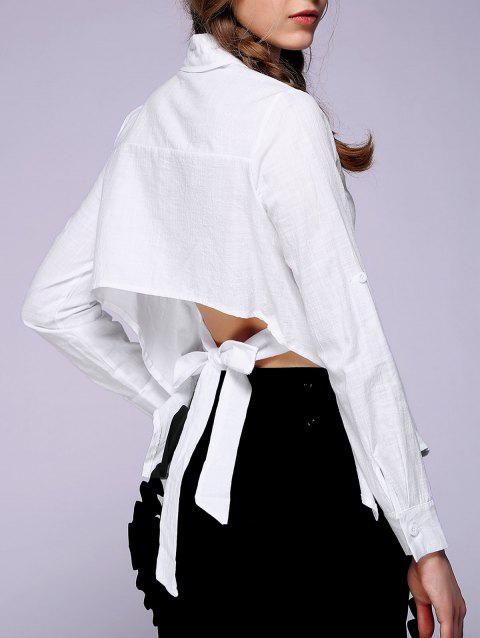 Women's Backless Solid Color Shirt - WHITE S