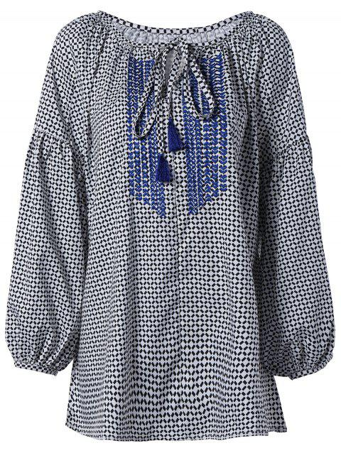Loose Plaid Puff Sleeve Blouse - CHECKED ONE SIZE
