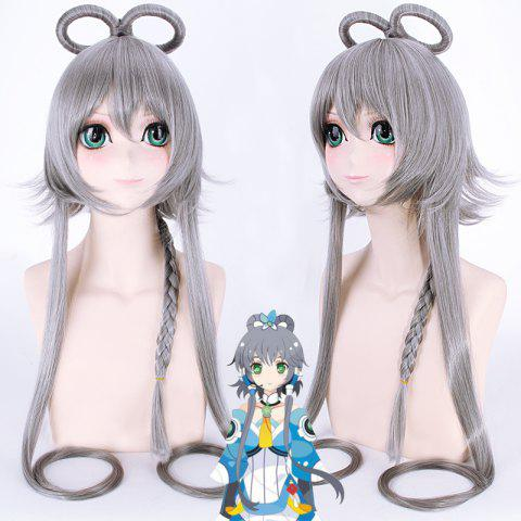 Fashion Synthetic Straight with Braided Luo Tianyi Silver Gray Hatsune Miku Cosplay Wig - SILVER GRAY
