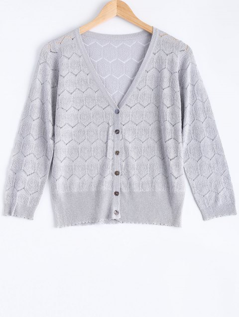 Casual Zig Zag Textured Knitted Cardigan For Women - LIGHT GRAY ONE SIZE