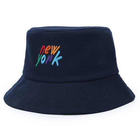 9cf233f9216 Stylish Colorful Letter Embroidery Flat Top Bucket Hat - PURPLISH BLUE