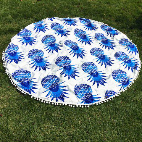 Cool Summer Pineapple Pattern Small Pompon Tassel Yoga Mat Gypsy Cotton Tablecloth Round Beach Throw - BLUE