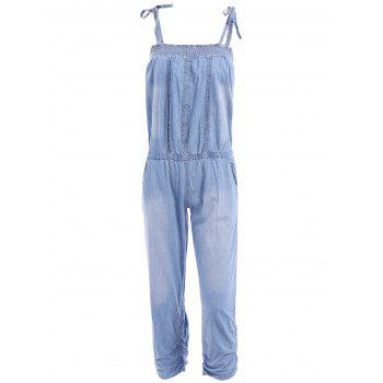 Fashionable Spaghetti Strap Tie-Up Bleach Wash Elastic Denim Jumpsuit For Women