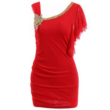 Women's Chiffon Solid Color Ruffles Flounces Beam Waist Packet Buttock Chain And Corsage Embellished Stylish Dress