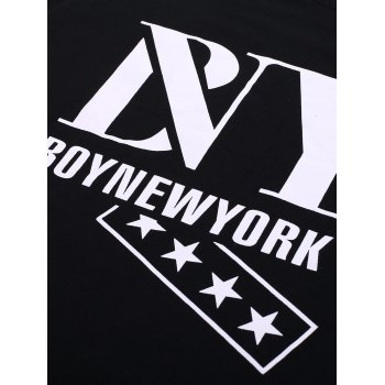 BoyNewYork Star Printing Solid Color T-Shirt - BLACK XL
