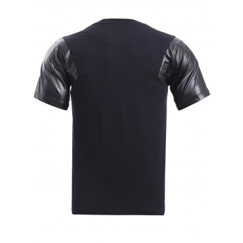 BoyNewYork PU Leather Splicing T-Shirt - BLACK XL