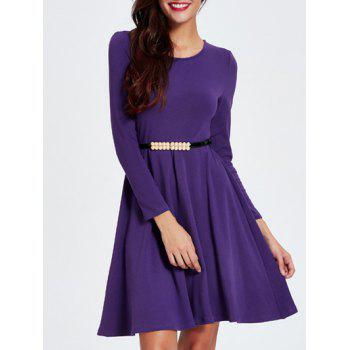 Long Sleeve Slimming A Line Dress