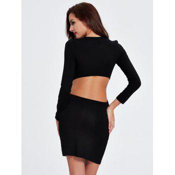 Charming Plunging Neck Cut Out Skinny Slimming Women's Dress - BLACK 2XL