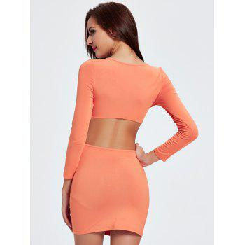Charming Plunging Neck Cut Out Skinny Slimming Women's Dress - ORANGEPINK 2XL