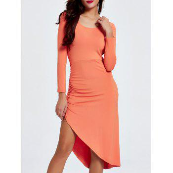 Alluring Scoop Neck Ruched Asymmetrical Backless Women's Dress