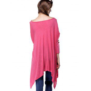 Asymmetrical Cut Out Swing Tee - ROSE RED L