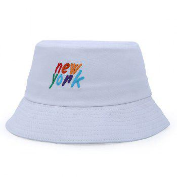 Stylish Colorful Letter Embroidery Flat Top Bucket Hat