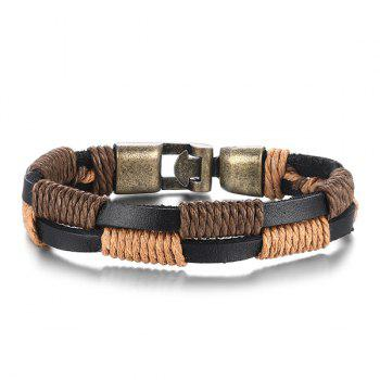 Simple Faux Leather Hemp String Wrap Layered Bracelet For Men