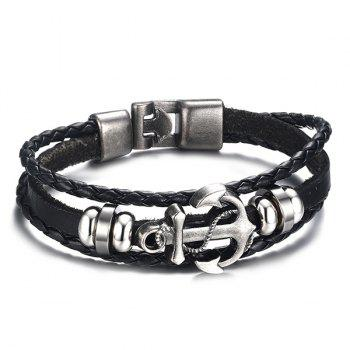 Stylish Anchor Woven Faux Leather Black Layered Bracelet For Men