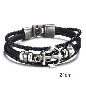 Stylish Anchor Woven Faux Leather Black Layered Bracelet For Men - BLACK