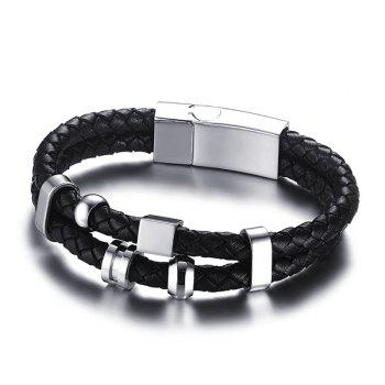Rock Style Geometric Woven Faux Leather Layered Black Charm Bracelet For Men