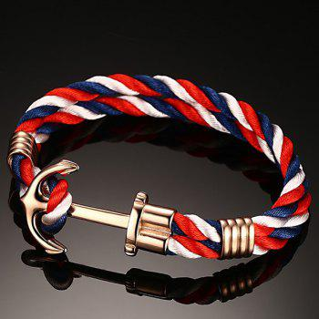 Stylish Multicolored Twist Strap Gold Plated Anchor Bracelet For Men - COLORFUL