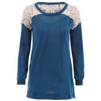 Stylish Scoop Neck Long Sleeve Lace Spliced Hollow Out Women's T-Shirt