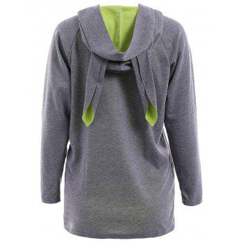 Cute Long Sleeve Hooded Loose-Fitting Women's Pullover Hoodie - GRAY S