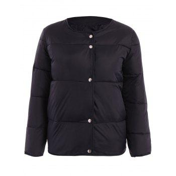 Simple Style Solid Color Round Collar Pleated Thick Parka For Women
