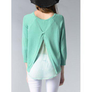 Elegant Pure Color Slit Hi Low Slim-Fitted Knit Sweater