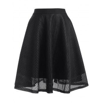 High Waisted Stripe See-Through A Line Skirt