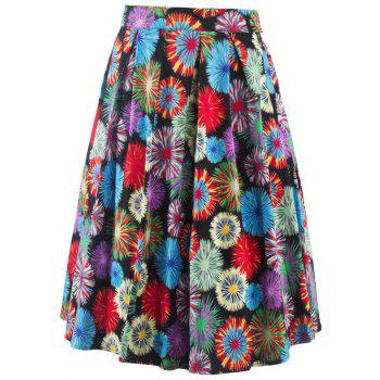 Vintage Fireworks Flower Print High Waisted Long Skirt