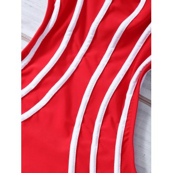 Strappy Cut Out Stripe Monokini Swimsuit - RED XL
