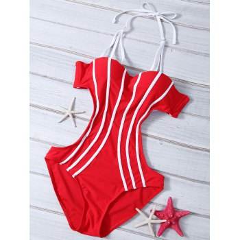 Strappy Cut Out Stripe Monokini Swimsuit