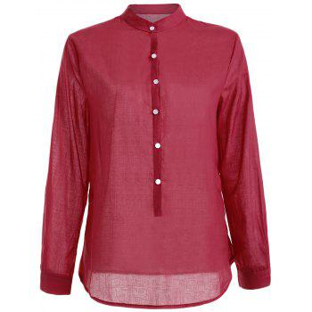Long Sleeve Button Linen Shirt