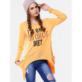 Funny Print Asymmetrical T-Shirt - SWEET ORANGE S