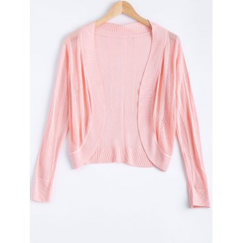 Brief Pure Color Textured Knitted Cardigan For Women