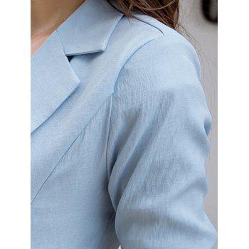 Casual Pure Color Pocket Blazer For Women - LIGHT BLUE S