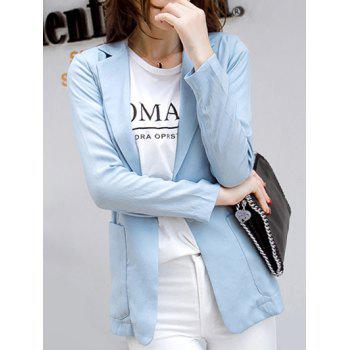 Casual Pure Color Pocket Blazer For Women