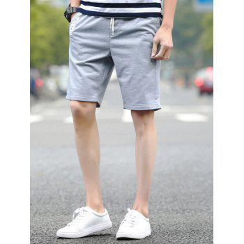 Buy Letters Print Lace-Up Straight Leg Men's Shorts LIGHT GRAY