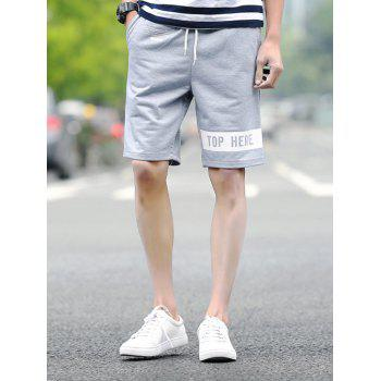 Buy Letters Printed Lace-Up Straight Leg Sport Men's Shorts LIGHT GRAY